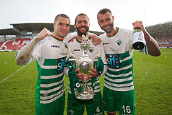 WREXHAM, WALES - Monday, May 2, 2016: The New Saints' Kai Edwards, Phil Baker and Connell Rawlinson celebrate with the trophy after the 2-0 victory over Airbus UK Broughton during the 129th Welsh Cup Final at the Racecourse Ground. (Pic by David Rawcliffe/Propaganda)