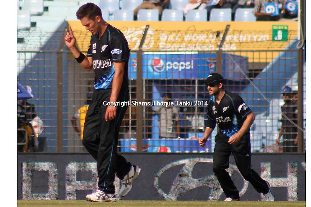 Trent Boult celebrates taking Stephan Muburgh - New Zealand Black Caps v Netherlands, Zahur Ahmed Chowdhury Stadium, Chittagong, Bangladesh. ICC World Twenty20 cricket Bangaldesh 2014. 29 March 2014. Photo: Shamsul hoque Tanku/www.photosport.co.nz