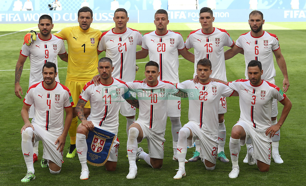 SAMARA, June 17, 2018  Players of Serbia pose for a group photo prior to a group E match between Costa Rica and Serbia at the 2018 FIFA World Cup in Samara, Russia, June 17, 2018. (Credit Image: © Fei Maohua/Xinhua via ZUMA Wire)