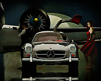 It's night, a Mercedes 300 SL Gullwings has just arrived and has opened its driver's door. A young woman seems to be waiting for the driver while a man is waiting a little further on. An airplane is ready to go. What is happening here seems to be a mystery, but what is certain is that they are going somewhere. -<br />