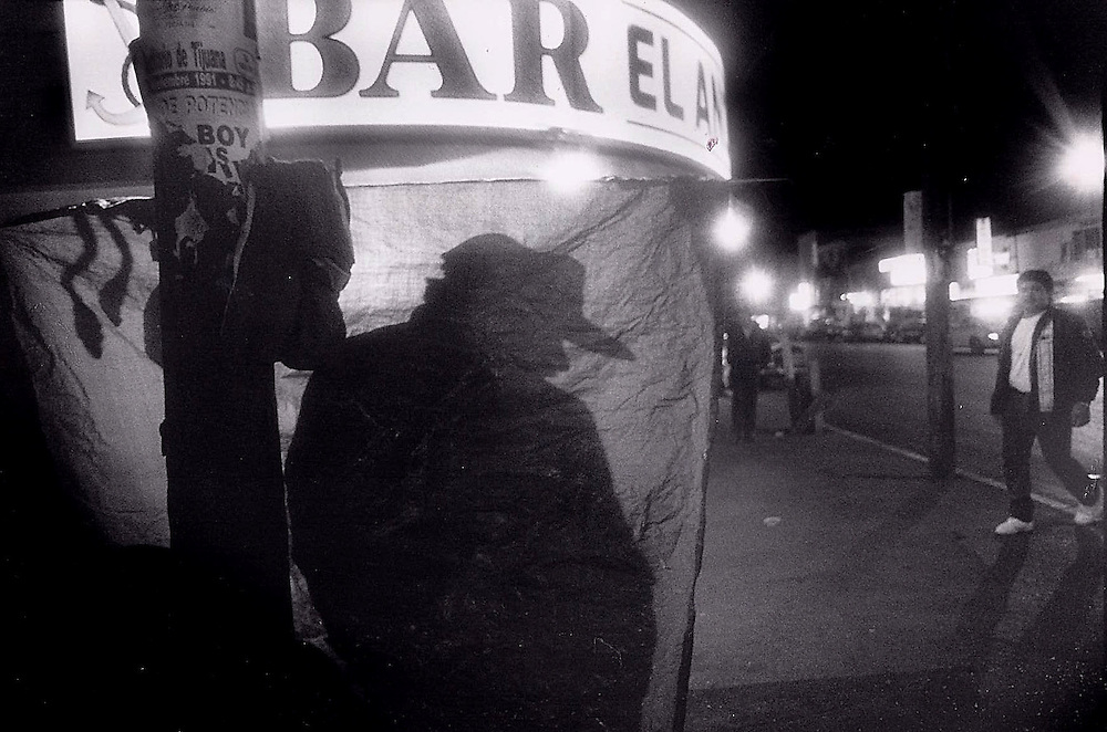 Tijuana Red Light District at night.  1992