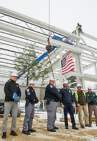 "Ward D'Elia Samyn-D'Elia Architects, Sgt C.H. McLain Marine Patrol, Capt Tim Dunleavy Marine Patrol, John Howard, Paul Kent Harvey Construction and Capt William Haynes NH State Police during the ""Topping Off"" ceremony at Gilford Marine Patrol Monday morning.  (Karen Bobotas/for the Laconia Daily Sun)"