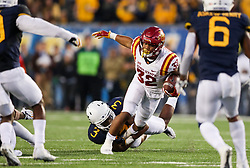 Nov 4, 2017; Morgantown, WV, USA; Iowa State Cyclones running back David Montgomery (32) runs the ball during the fourth quarter against the West Virginia Mountaineers at Milan Puskar Stadium. Mandatory Credit: Ben Queen-USA TODAY Sports