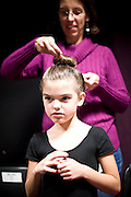 The youth ballerinas get ready, backstage at The Carolina Ballet's Nutcracker in Raleigh, NC.