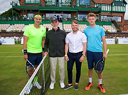 LIVERPOOL, ENGLAND - Thursday, June 15, 2017: Marcus Willis (GBR) and Adam Jones (GBR) with sponsor Eddie from Hope University during Day One of the Liverpool Hope University International Tennis Tournament 2017 at the Liverpool Cricket Club. (Pic by David Rawcliffe/Propaganda)