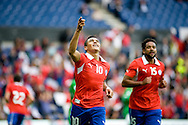 14.09.13. Brondby, Denmark.Chile's Alexis Sanchez celebrates scoring the first goal against Irak during the international friendly match at the Brondby Stadium in Denmark.Photo: © Ricardo Ramirez