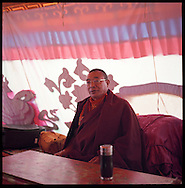 Inside of Tenzinima Rinpoche's tent at Drikung Thil.