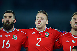 TBILSI, GEORGIA - Friday, October 6, 2017: Wales' Chris Gunter sings the national anthem before the 2018 FIFA World Cup Qualifying Group D match between Georgia and Wales at the Boris Paichadze Dinamo Arena. (Pic by David Rawcliffe/Propaganda)