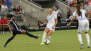 North Carolina Courage midfielder Debinha (10) tries to intercept a pass from Olympique Lyonnais defender Lucy Bronze to midfielder Amel Majri (7) during an International Champions Cup women's soccer game, Sunday, Aug. 18, 2019, in Cary, Olympique Lyonnais bested the North Carolina Courage 1-0 in the finals.  (Brian Villanueva/Image of Sport)