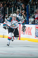KELOWNA, CANADA - MARCH 27: Chance Braid #22 of Kelowna Rockets skates against the Tri-City Americans on March 27, 2015 at Prospera Place in Kelowna, British Columbia, Canada.  (Photo by Marissa Baecker/Shoot the Breeze)  *** Local Caption *** Chance Braid;