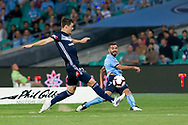 SYDNEY, AUSTRALIA - APRIL 06: Sydney FC defender Michael Zullo (7) crosses the ball at round 24 of the Hyundai A-League Soccer between Sydney FC and Melbourne Victory on April 06, 2019, at The Sydney Cricket Ground in Sydney, Australia. (Photo by Speed Media/Icon Sportswire)