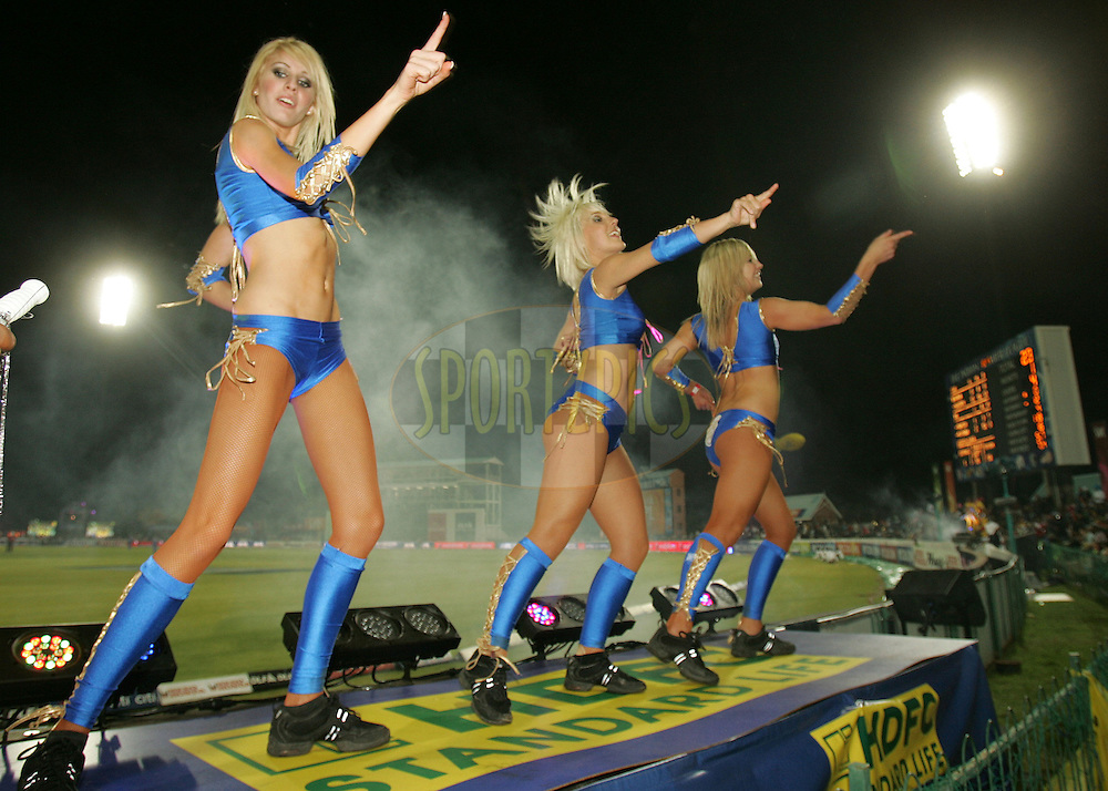 KIMBERLEY, SOUTH AFRICA - 9 May 2009. Dancing girls during the  IPL Season 2 match between the Chennai Superkings and the Rajasthan Royals held at Cassandra Park in Kimberley. South Africa..