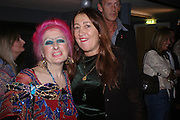Zandra Rhodes and Lynn Franks. Zandra Rhodes- A Lifelong Affair with textiles.-Zandra Rhodes retrospective exhibition. Fashion and Textile museum. 1 February 2005. ONE TIME USE ONLY - DO NOT ARCHIVE  © Copyright Photograph by Dafydd Jones 66 Stockwell Park Rd. London SW9 0DA Tel 020 7733 0108 www.dafjones.com