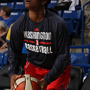 Washington Mystics Guard Ivory Latta (12) attempts to take a jump shot during warm up prior to a WNBA preseason basketball game between the Chicago Sky and the Washington Mystics Tuesday, May. 13, 2014 at The Bob Carpenter Sports Convocation Center in Newark, DEL