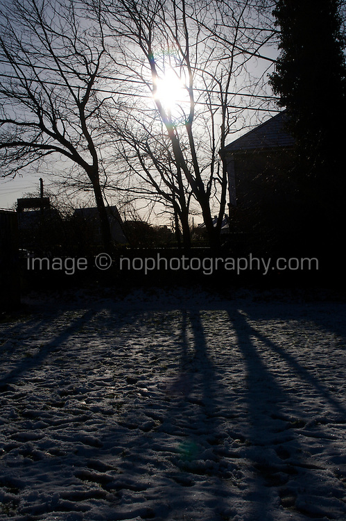 Snow covered field in suburban in Dublin Ireland
