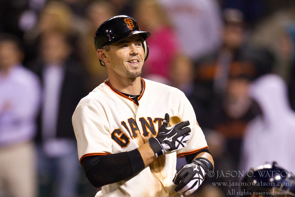 May 11, 2010; San Francisco, CA, USA;  San Francisco Giants catcher Eli Whiteside (22) at bat against the San Diego Padres during the ninth inning at AT&T Park.  San Diego defeated San Francisco 3-2.