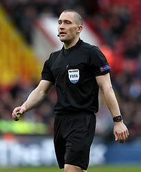 Match referee Mads-Kristoffer Kristoffersen during the UEFA European U21 Championship Qualifying, Group 4 match at Bramall Lane, Sheffield. PRESS ASSOCIATION Photo. Picture date: Tuesday March 27, 2018. See PA story SOCCER England U21. Photo credit should read: Mike Egerton/PA Wire. RESTRICTIONS: Use subject to FA restrictions. Editorial use only. Commercial use only with prior written consent of the FA. No editing except cropping.