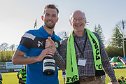 Forest Green Rovers Christian Doidge(9) receiving Supporters Player of the year during the EFL Sky Bet League 2 match between Forest Green Rovers and Grimsby Town FC at the New Lawn, Forest Green, United Kingdom on 5 May 2018. Picture by Shane Healey.