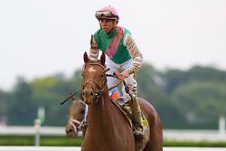 June 9, 2018 - Hempstead, NY, U.S. - HEMPSTEAD, NY - JUNE 09:  Hofburg ridden by Jockey Irad Ortiz Jr. after the 150th Belmont Stakes on June 9, 2018 at Belmont Park in Hempstead, NY.    (Photo by Rich Graessle/Icon Sportswire) (Credit Image: © Rich Graessle/Icon SMI via ZUMA Press)