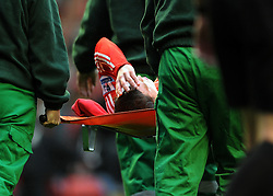 Daniel Agger with head injury during the Barclays Premier League match between Liverpool and Manchester City at Anfield - 21/11/09