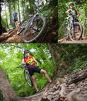 Portraits of Mike Sacks, Russ Fender, and Veronica Salazar mountain biking on Richmond's James River Parks Trails