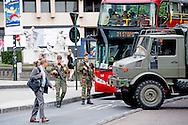 BRUSSEL - Het leger is aanwezig in het centrum van Brussel. De beveiliging is opgeschroeft in aanloop naar een nationale feestdag.l ROBIN UTRECHT