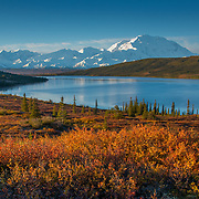 The sun rises over Mt McKinley at Wonder lake in Denali National Park, Alaska in August