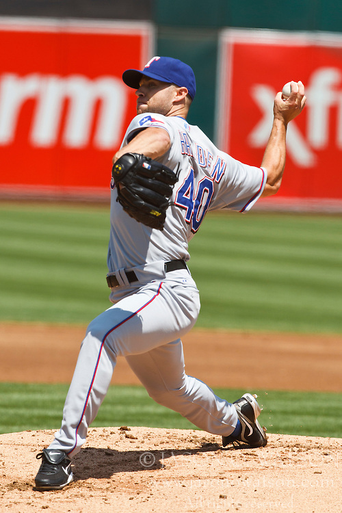 August 7, 2010; Oakland, CA, USA;  Texas Rangers starting pitcher Rich Harden (40) pitches against the Oakland Athletics during the first inning at Oakland-Alameda County Coliseum.  Oakland defeated Texas 6-2.
