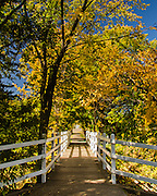 The view to downtown Red Deer, Alberta, Canada over a foot bridge on one of the cities many walking trails.