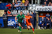 Coventry City defender Dominic Hyam (15) battles withLuton Town forward Danny Hylton during the EFL Sky Bet League 1 match between Luton Town and Coventry City at Kenilworth Road, Luton, England on 24 February 2019.