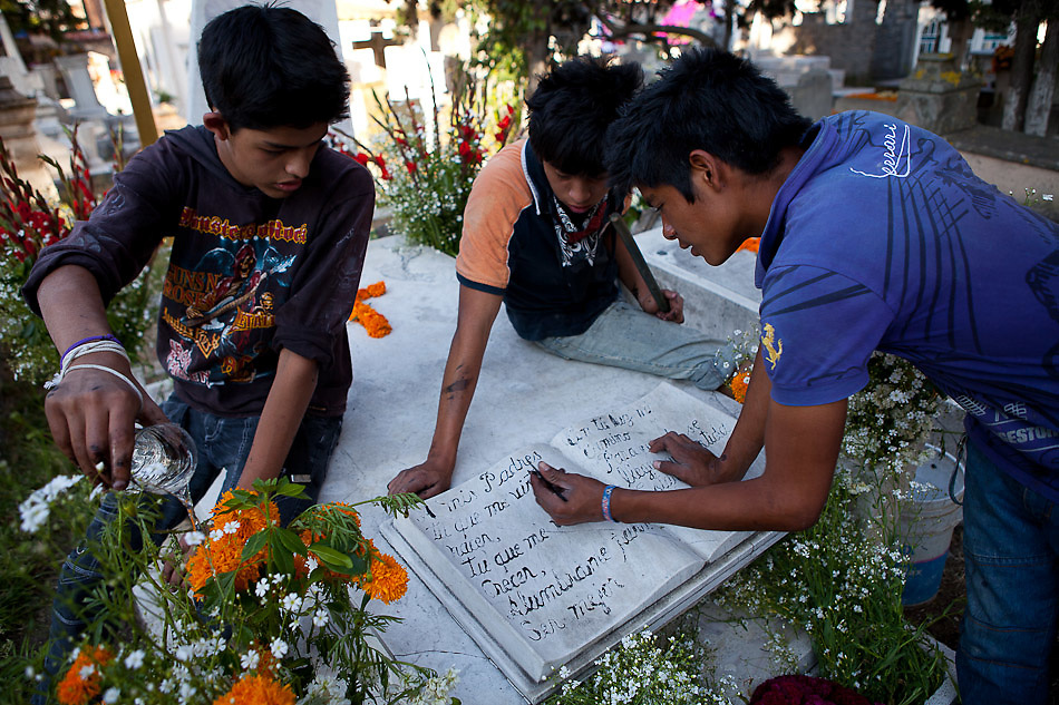 "In the town of Comanja, Michoacan, locals celebrate ""Dia de los Muertos"" (Day of the Dead) on Nov. 2, 2011. The ritual has profound significance for the local people who celebrate deceased loved ones on the cheerful and solemn occasion. ..©Benjamin B Morris"