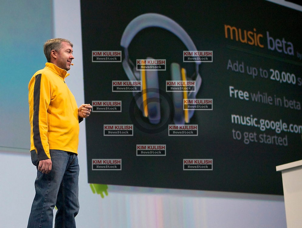 Paul Joyce, product manager at Google Inc., unveils Google Music, their online music service, at the Google I/O  developer's conference in San Francisco, California.