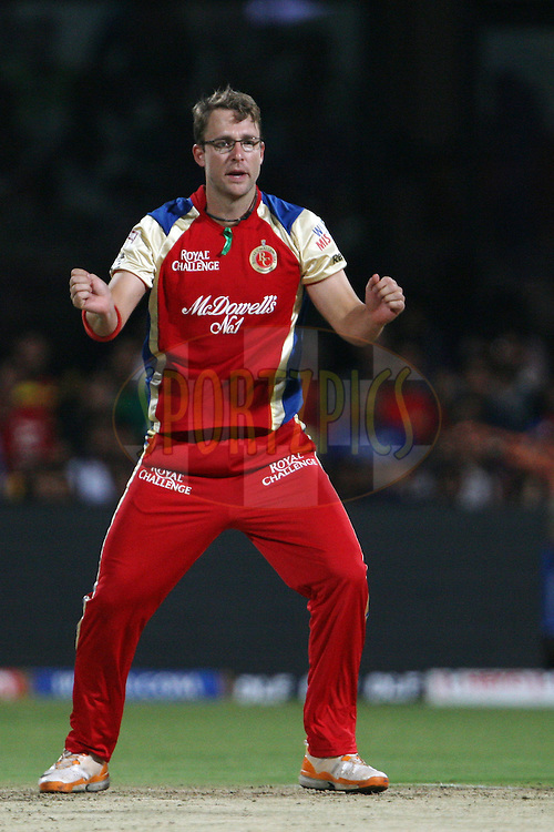 Daniel Vettori celebrates the wicket of Rahul Dravid during match 18 of the the Indian Premier League ( IPL) 2012  between The Royal Challengers Bangalore and the Rajasthan Royals held at the M. Chinnaswamy Stadium, Bengaluru on the 15th April 2012..Photo by Jacques Rossouw/IPL/SPORTZPICS