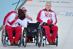 Alexander Shevchenko, Svetlana Pakhomova, Andrey Smirnov, Wheelchair Curling Semi Finals at the 2014 Sochi Winter Paralympic Games, Russia