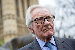 © Licensed to London News Pictures. 29/03/2017. London, UK. Michael Heseltine speaks to media on College Green. British Prime Minister Theresa May has signed a letter to trigger Article 50 today. Photo credit : Tom Nicholson/LNP