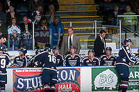 KELOWNA, CANADA - JANUARY 22: Mike Williamson and Brian Pellerin, coaching staff of the Tri City Americans stand on the bench at the Kelowna Rockets on January 22, 2016 at Prospera Place in Kelowna, British Columbia, Canada.  (Photo by Marissa Baecker/Shoot the Breeze)  *** Local Caption *** Mike Williamson; Brian Pellerin;