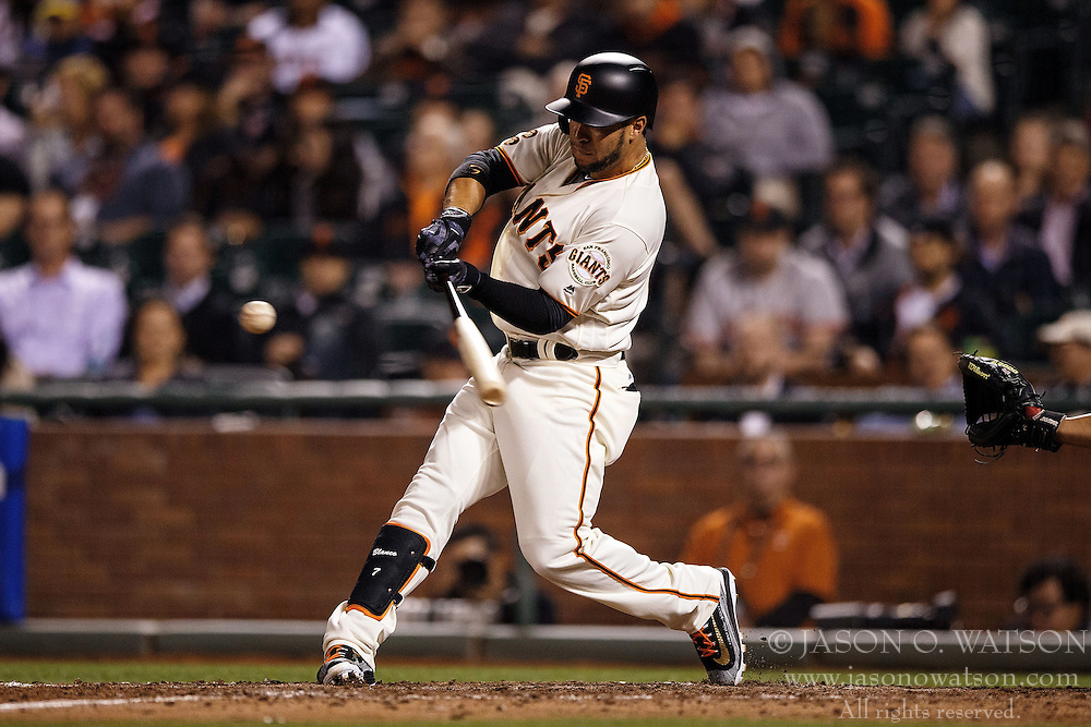 SAN FRANCISCO, CA - APRIL 18: Gregor Blanco #7 of the San Francisco Giants at bat against the Arizona Diamondbacks during the seventh inning at AT&T Park on April 18, 2016 in San Francisco, California. The Arizona Diamondbacks defeated the San Francisco Giants 9-7 in 11 innings.  (Photo by Jason O. Watson/Getty Images) *** Local Caption *** Gregor Blanco