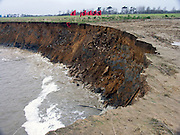 Installed on 15th January 2005, 'Lines of Defence' by Bettina Furnée consisted of 38 flags in five lines, each one meter apart, on the eroding cliffs, East Lane, Bawdsey, Suffolk, England, UK. The overall name of the art project was 'If Ever You're in the Area'