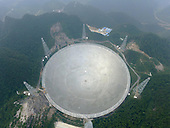 Aerial view dish like Radio telescope