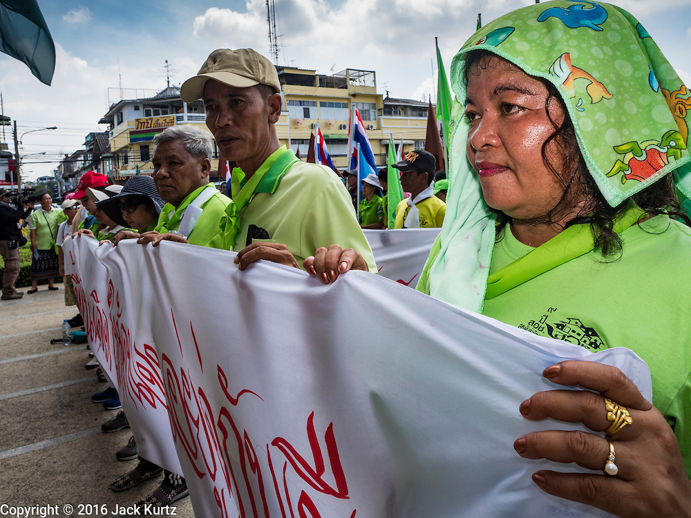 03 OCTOBER 2016 - BANGKOK, THAILAND:  World Habitat Day protesters gather in front of Bangkok city hall. In 1985, the UN General Assembly declared that World Habitat Day would be observed on the first Monday of October every year.  The declaration noted that every person deserves a decent place to live. In Bangkok this year, hundreds of people marched to the United Nations' offices to deliver a letter addressed to the UN Secretary General noting that forced evictions to facilitate urban renewal and gentrification was resulting in an increase in homelessness and substandard housing. Protesters and housing rights' activists also marched to the Prime Minister's Office and Bangkok city hall to express their concerns.     PHOTO BY JACK KURTZ