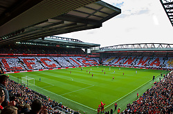 LIVERPOOL, ENGLAND - Saturday, September 16, 2017: Supporters form a mosaic on the Centenary and Spion Kop stands to mark the 125th Anniversary of Liverpool Football Club before the FA Premier League match between Liverpool and Burnley at Anfield. (Pic by Peter Powell/Propaganda)