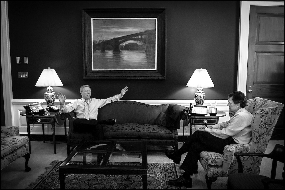 Rep. Richard Gephardt speaks in his office with Senate Majority Leader Tom Daschle about the upcoming days' schedule concerning the terrorist acts.  9/18/01..©PF BENTLEY/PFPIX.com