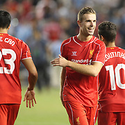 Jordan Henderson, Liverpool, after his sides penalty shoot out victory during the Manchester City Vs Liverpool FC Guinness International Champions Cup match at Yankee Stadium, The Bronx, New York, USA. 30th July 2014. Photo Tim Clayton