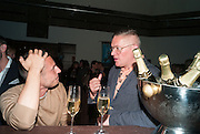 Jonathan Saunders; Giles Deacon, DINNER TO CELEBRATE THE ARTISTS OF FRIEZE PROJECTS AND THE EMDASH AWARD 2012 hosted by ANDREA DIBELIUS founder EMDASH FOUNDATION, AMANDA SHARP and MATTHEW SLOTOVER founders FRIEZE. THE FORMER CENTRAL ST MARTIN'S SCHOOL OF ART AND DESIGN, SOUTHAMPTON ROW, LONDON WC1. 11 October 2012
