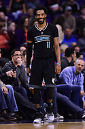 Jan 30, 2017; Phoenix, AZ, USA; Memphis Grizzlies guard Mike Conley (11) smiles on the court in the second half of the NBA game against the Phoenix Suns at Talking Stick Resort Arena. The Memphis Grizzlies won 115-96. Mandatory Credit: Jennifer Stewart-USA TODAY Sports