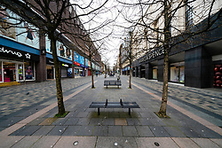 Glasgow, Scotland, UK. 26 March, 2020. Views from city centre in Glasgow on Thursday during the third day of the Government sanctioned Covid-19 lockdown. The city is largely deserted. Only food and convenience stores open. Pictured; Sauchiehall Street is virtually deserted. Iain Masterton/Alamy Live News