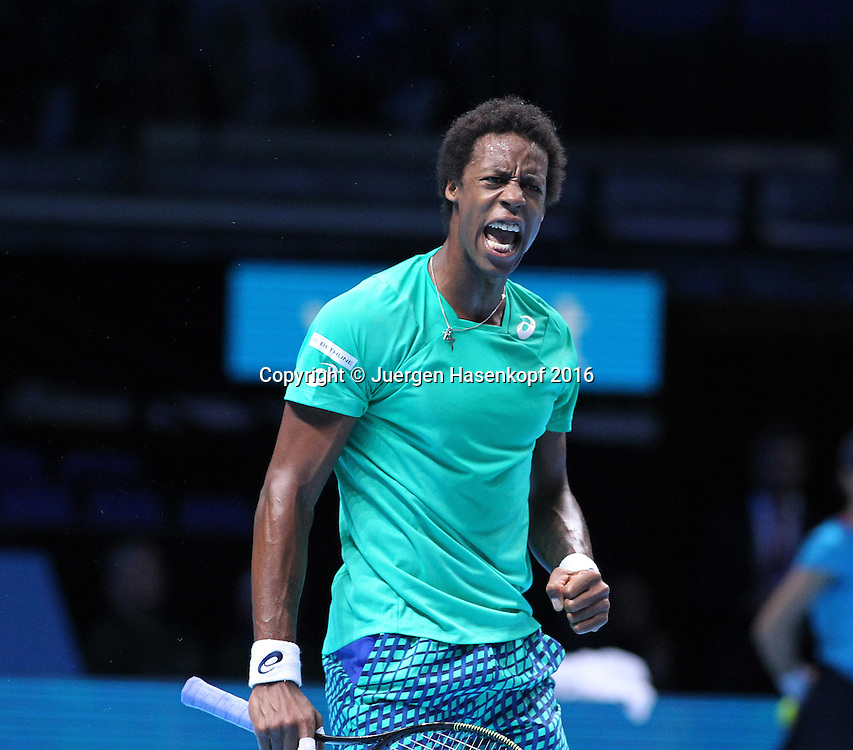 GAEL MONFILS (FRA), ATP World Tour Finals, O2 Arena, London, England.<br /> <br /> Tennis - ATP World Tour Finals 2016 - ATP -  O2 Arena - London -  - Great Britain  - 13 November 2016. <br /> &copy; Juergen Hasenkopf/Grieves