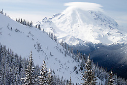 North America, United States, Washington, view of Mt. Ranier from Crystal Mountain