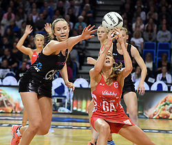 England's Helen Housby, right, under pressure from New Zealand's Kelly Jury in the Taini Jamison Trophy netball series match at Te Rauparaha Arena, Porirua, New Zealand, Thursday, September 07, 2017. Credit:SNPA / Ross Setford  **NO ARCHIVING**