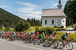 07.07.2017, St. Johann Alpendorf, AUT, Ö-Tour, Österreich Radrundfahrt 2017, 5. Kitzbühel - St. Johann/Alpendorf (212,5 km), im Bild das Peloton am Pass Thurn, vorne Riccardo Zoidl (AUT, Team Felbermayr Simplon Wels) // the Peloton at the Pass Thurn Leader Riccardo Zoidl (AUT Team Felbermayr Simplon Wels) during the 5th stage from Kitzbuehel - St. Johann/Alpendorf (212,5 km) of 2017 Tour of Austria. St. Johann Alpendorf, Austria on 2017/07/07. EXPA Pictures © 2017, PhotoCredit: EXPA/ JFK